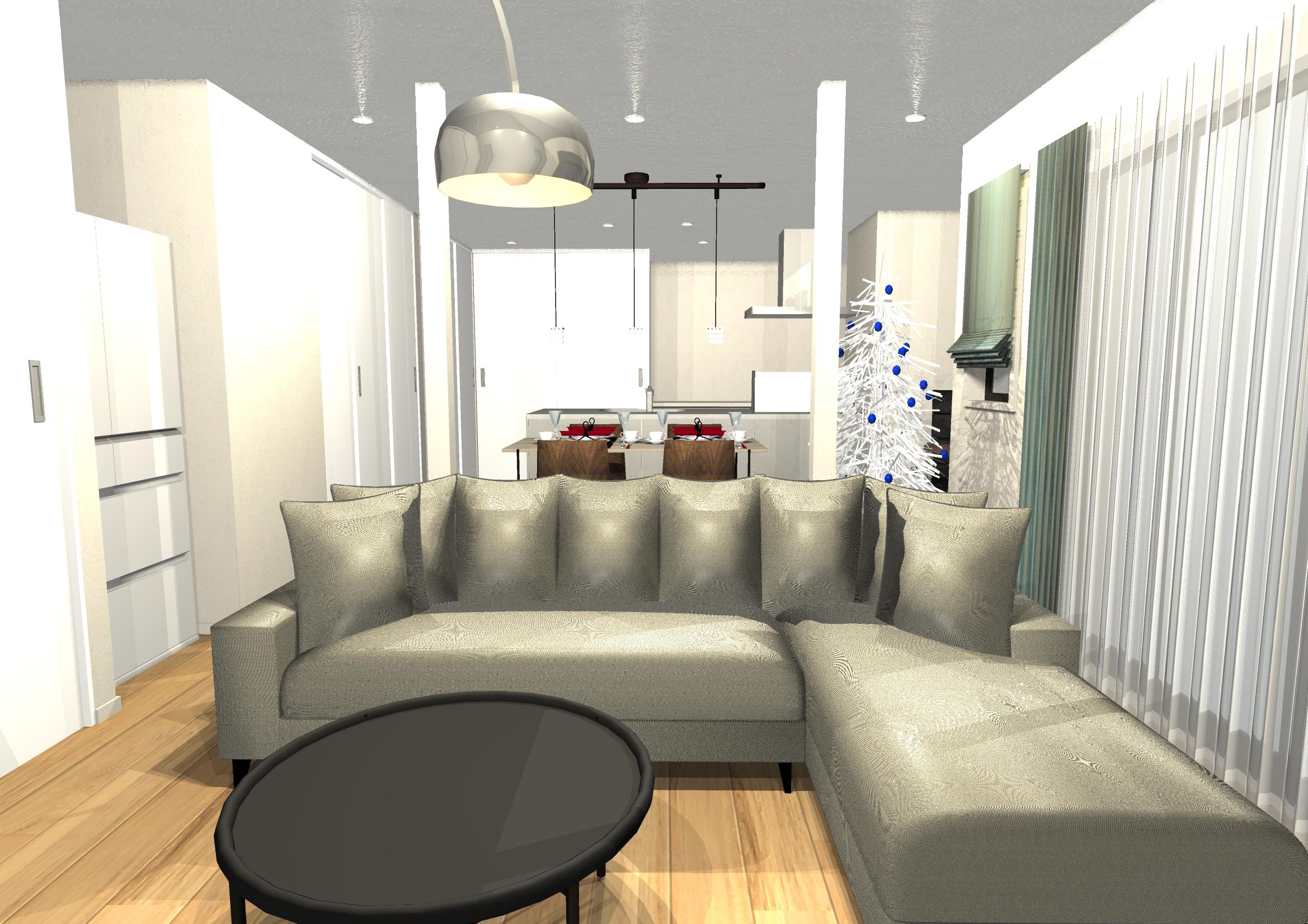 シャープな家具と素材ミックスで作る、モダンエレガントインテリア