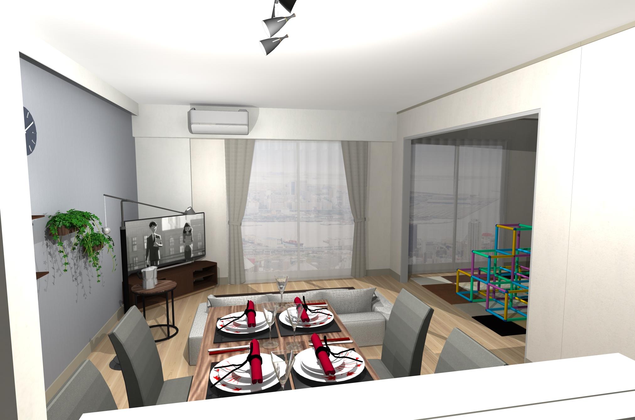 空間を広く見渡せるお部屋。お部屋の「ゴールデンゾーン」に抜け感と遊び心を