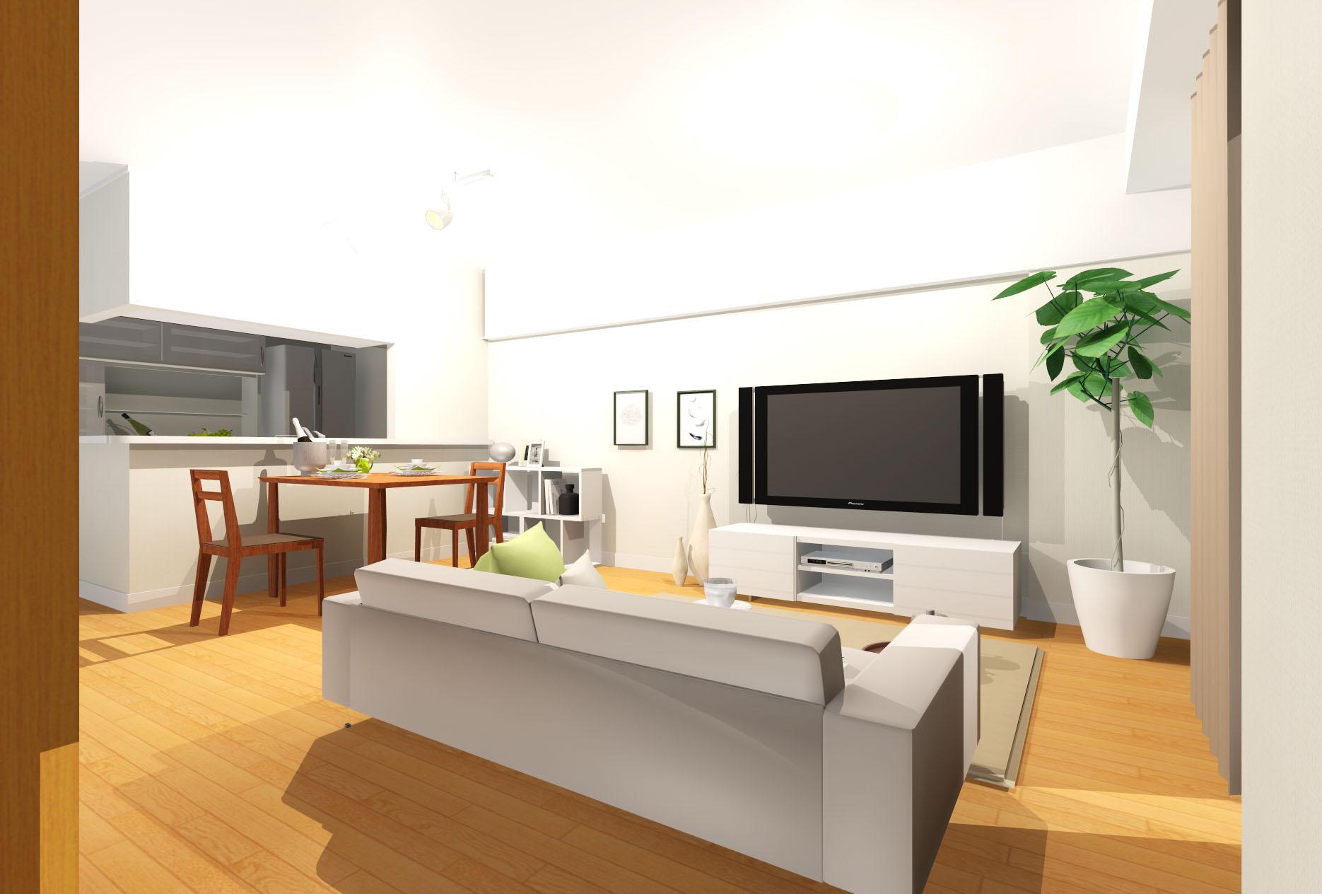 開放感ある心地良いリビング。きらめき素材でアクセントを添え、モデルルームのような空間。