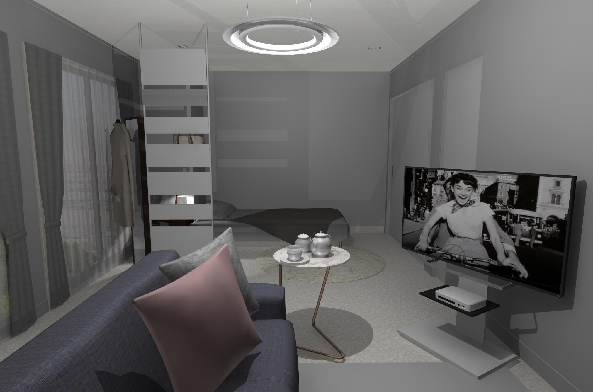 リビングとお仕事とベッドゾーンを1部屋に。Cool × Feminineのベストバランス