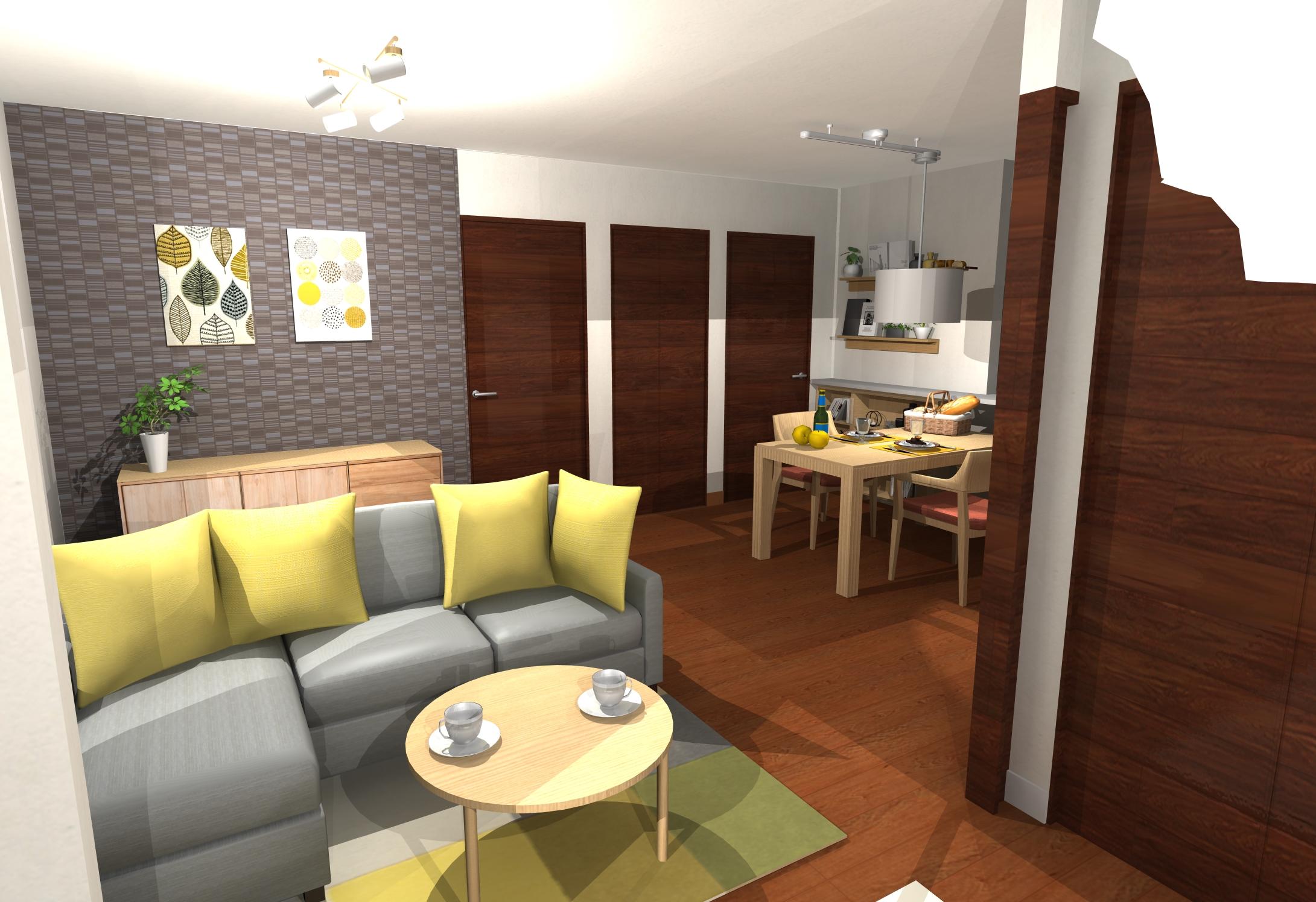 実は!家具配置、照明計画もされた落ち着つく北欧インテリア空間 ~ポイントカラー黄色~