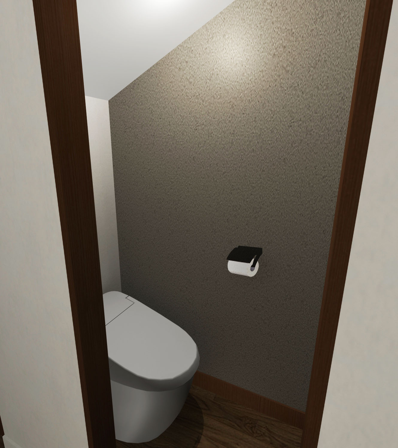 綺麗めモダンな内装壁紙トイレ