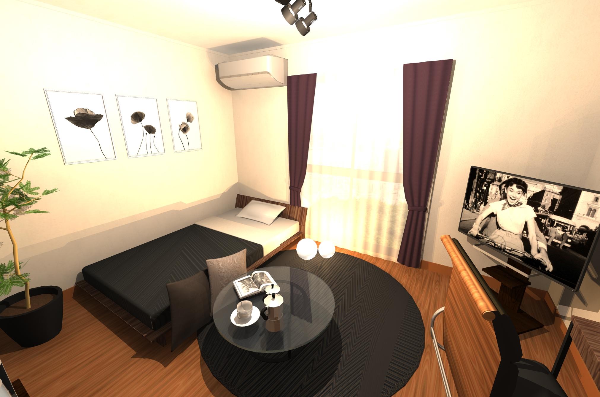 挽きたてのコーヒーの香りが似合う、ダークカラーでまとめたシックモダンなお部屋