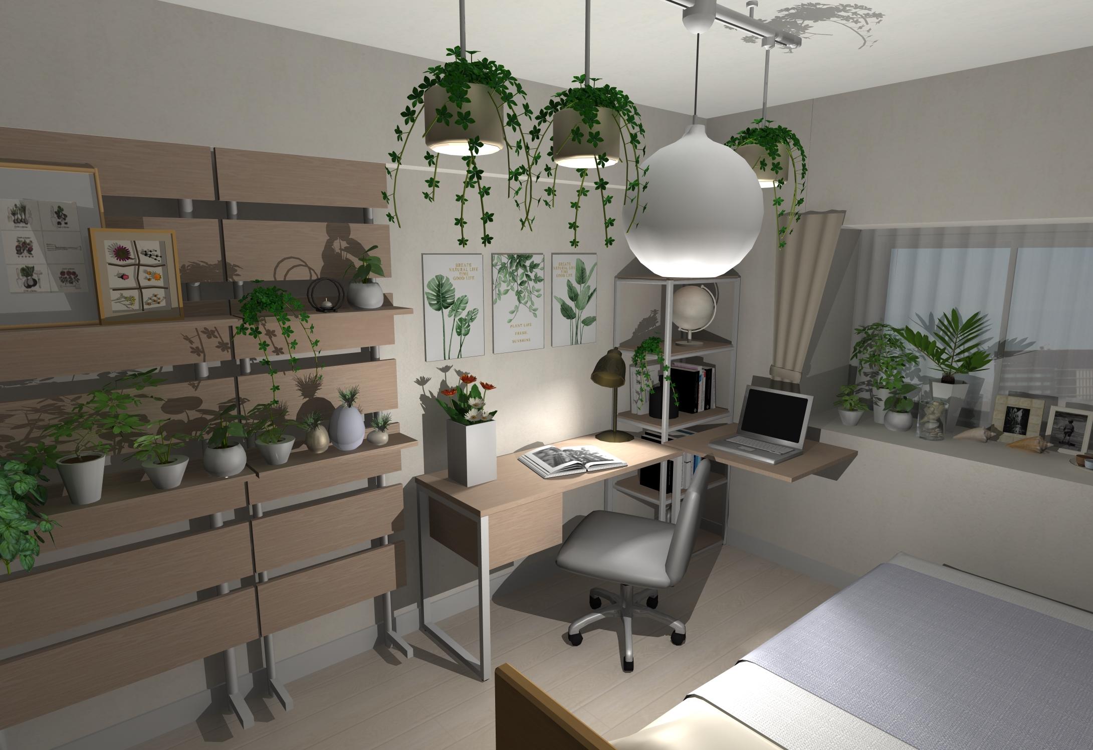 植物を沢山飾ろう!リゾートインテリアカラーで仕上げる「作業場」兼「寝室」