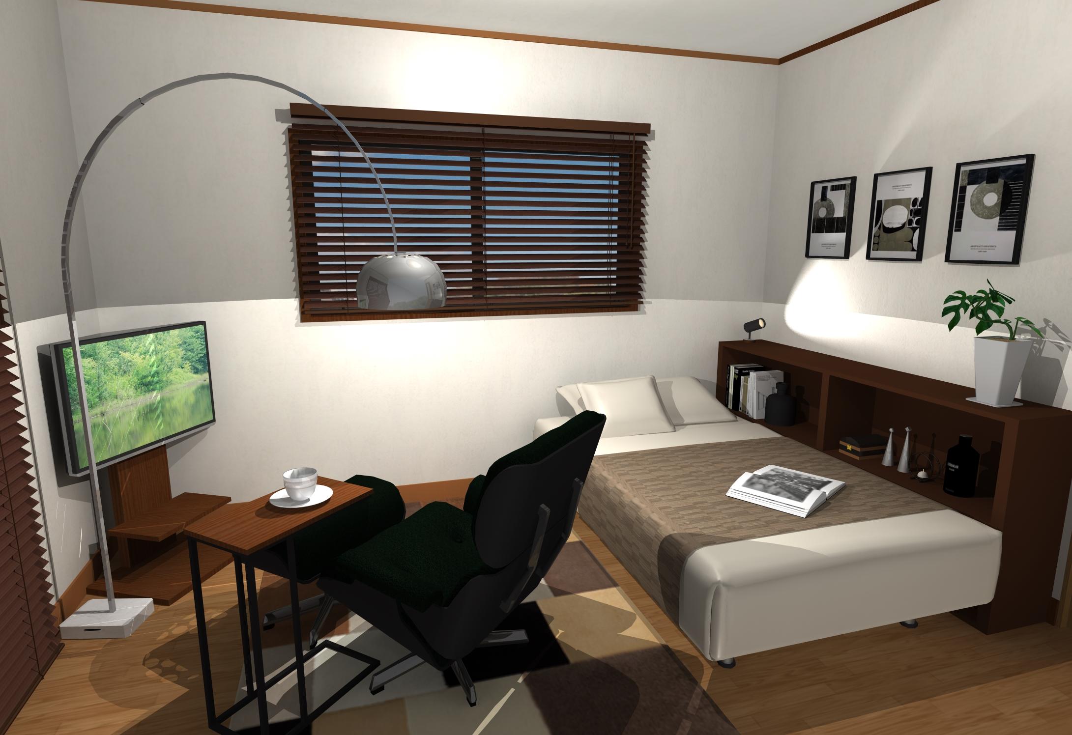 落着きあるダークカラーコーディネートで作る寝室空間