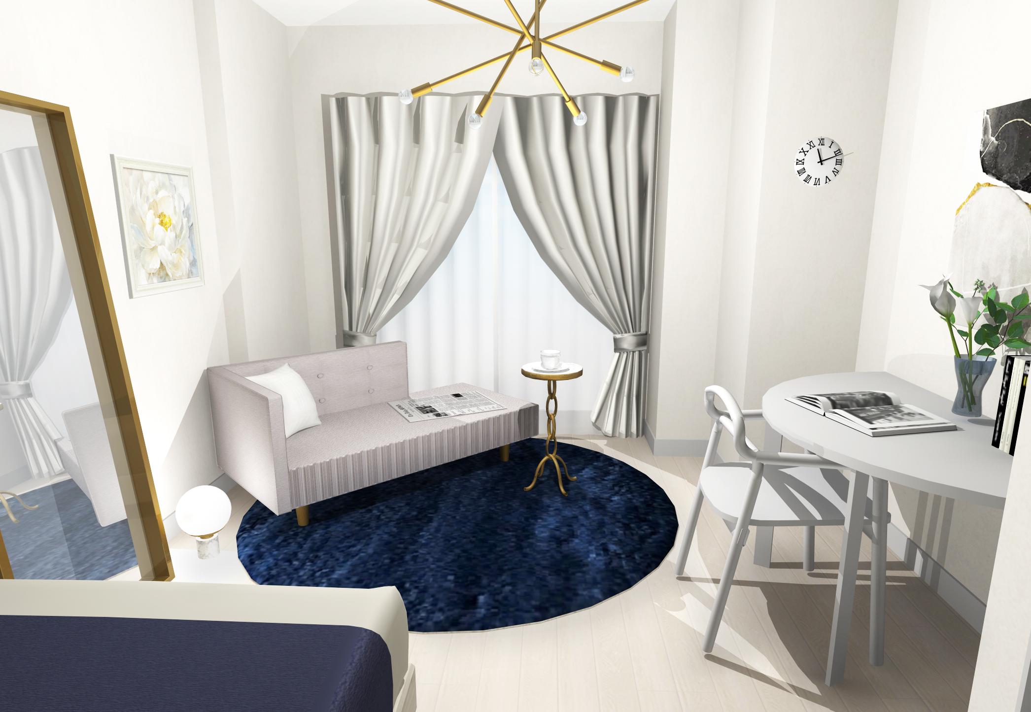 ホワイト×ブルー×ゴールドで魅せる、ラグジュアリーなホテルライクインテリア