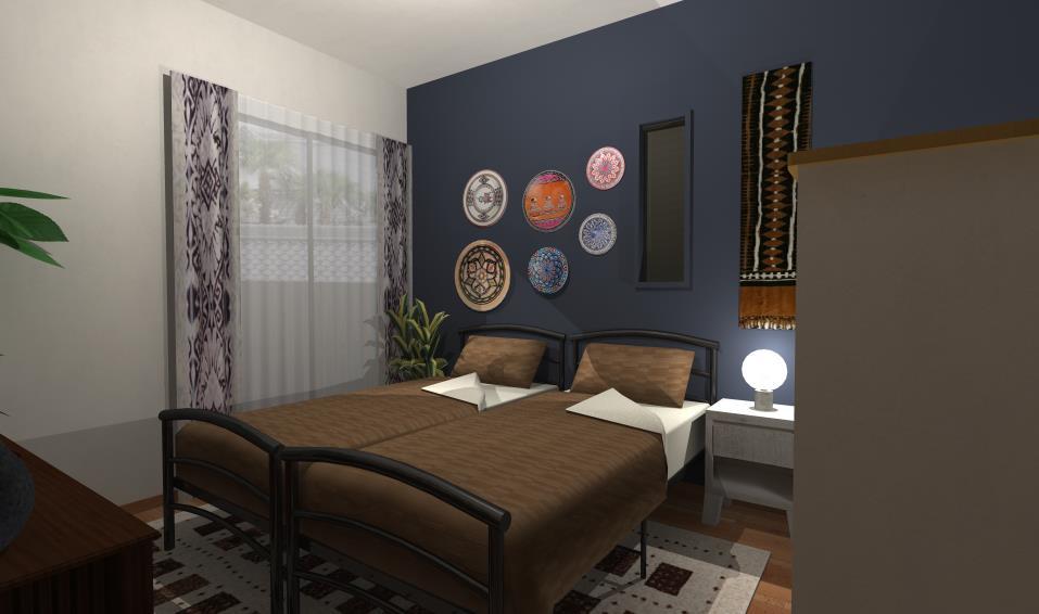 素材と柄を楽しむアフリカン寝室インテリア
