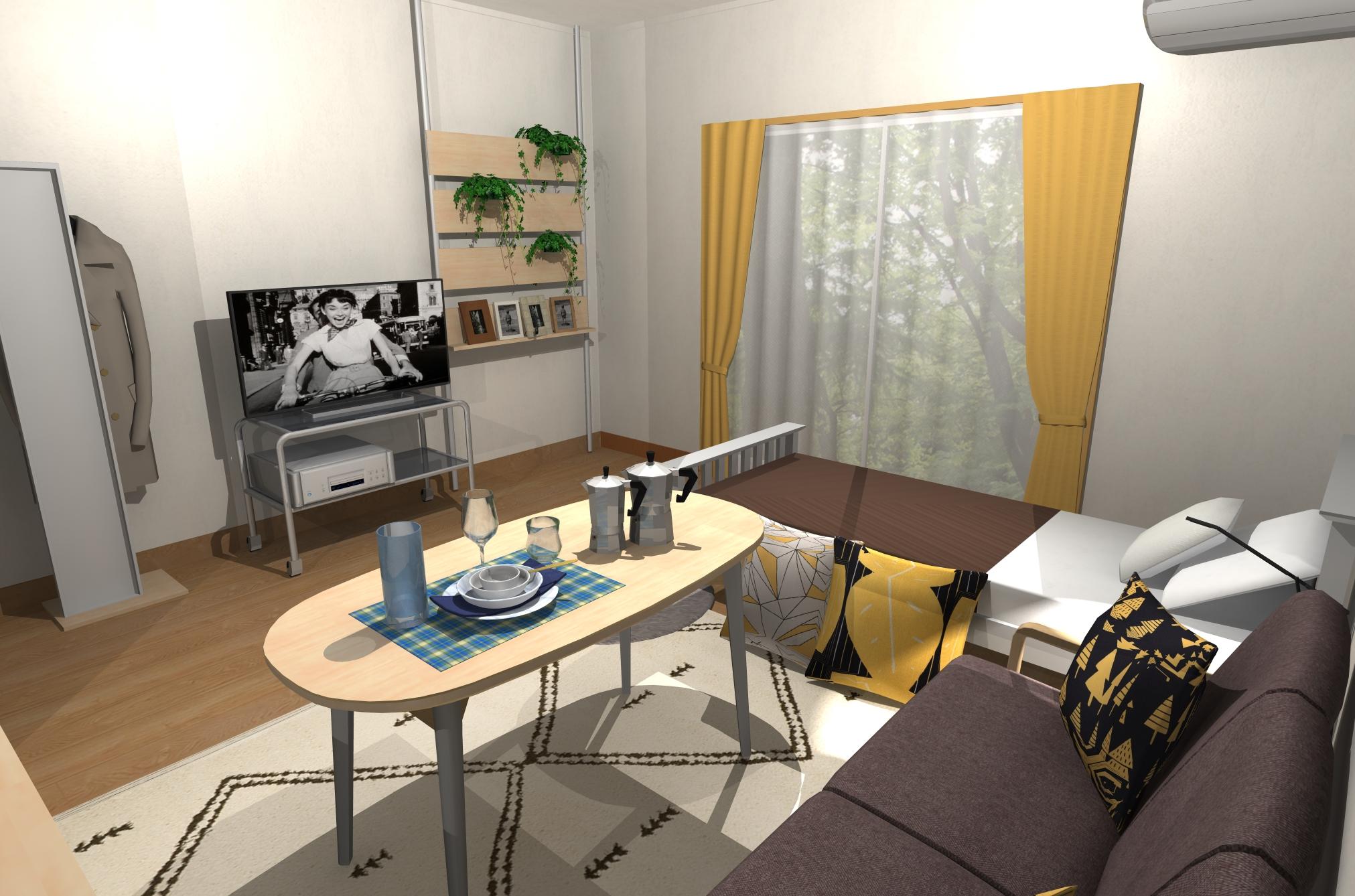 木目×インテリアグリーン、カフェのようなリラックスルーム