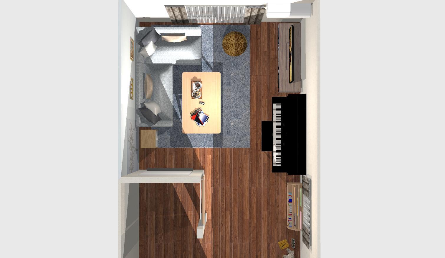 間取りを活かした広々北欧インテリア ~ピアノのある優雅なリビングルーム~