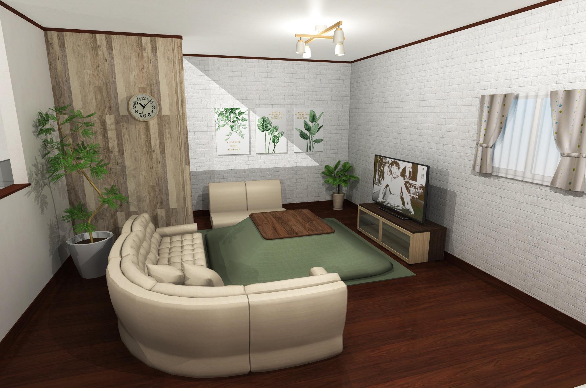 緑×白レンガで、温かみのある暮らしを。 上品ナチュラルインテリア