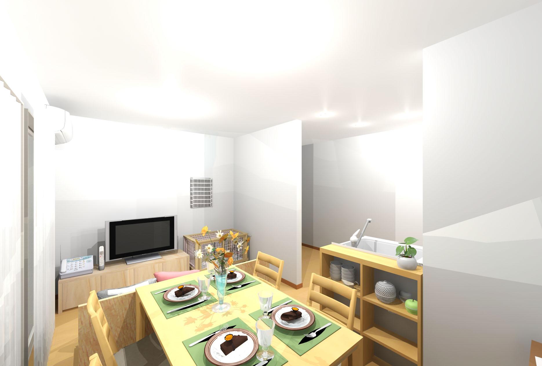 家族が思い思いに過ごせる快適コンパクトリビング。 北欧ナチュラルにモダンテイストを入れ、温かみと洗練が同居する空間。